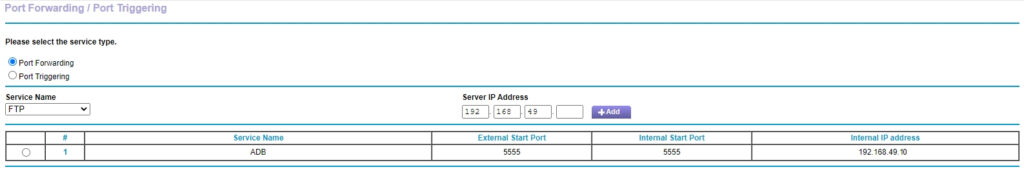 Router port forward rule setup